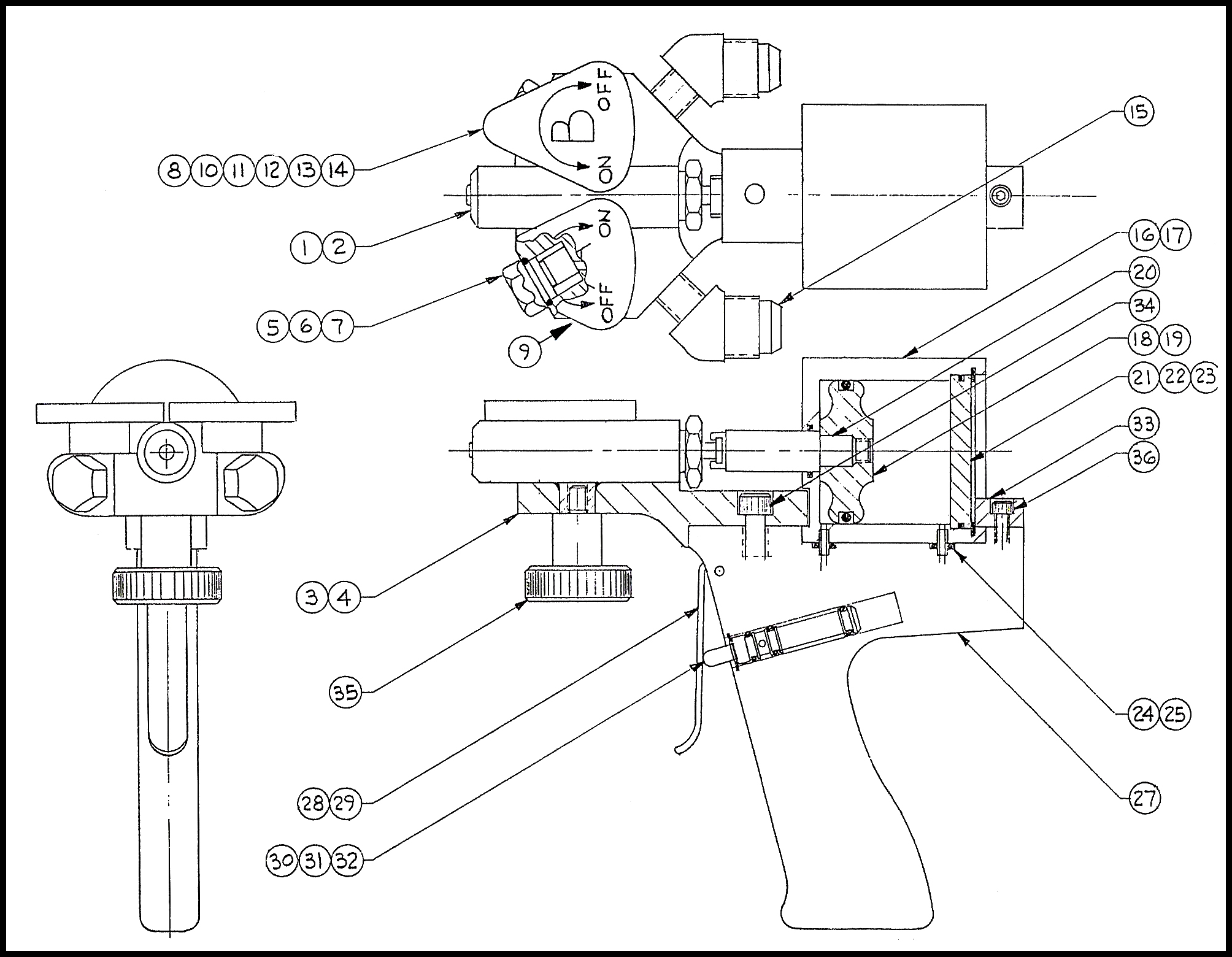 LDG Foam Dispensing Gun Diagram